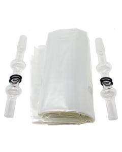 Il pacco di palloncini con bocchette in vetro Arizer include tutto ciò che ti serve per sostituire i palloncini inclusi